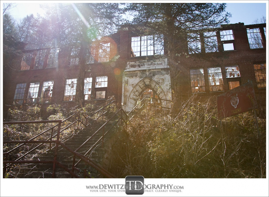 Coalwood High School Looking Up Front Steps in Color Photograph