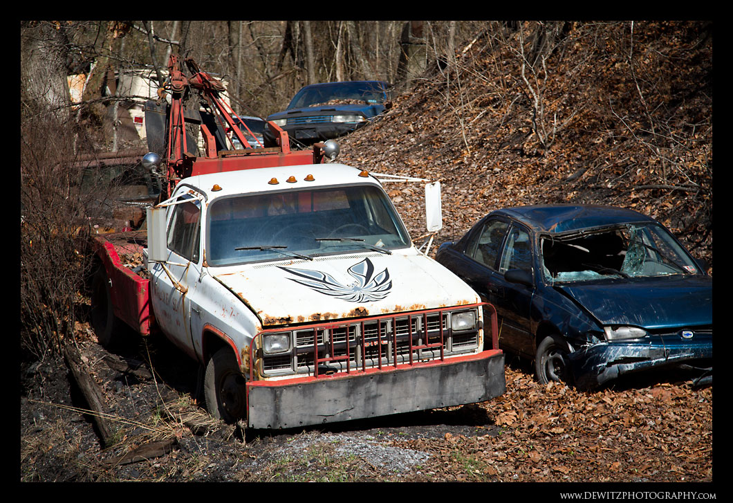 Junk Yard – Tow Truck with a Firebird on the Hood