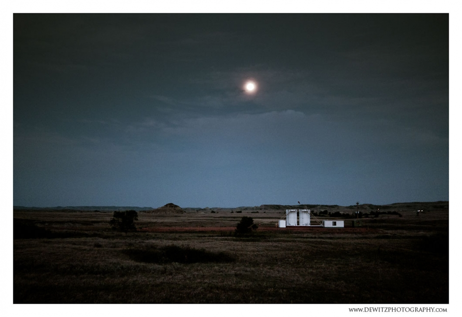 Moon Light Over The Bakken Oil Storage Tanks Photograph