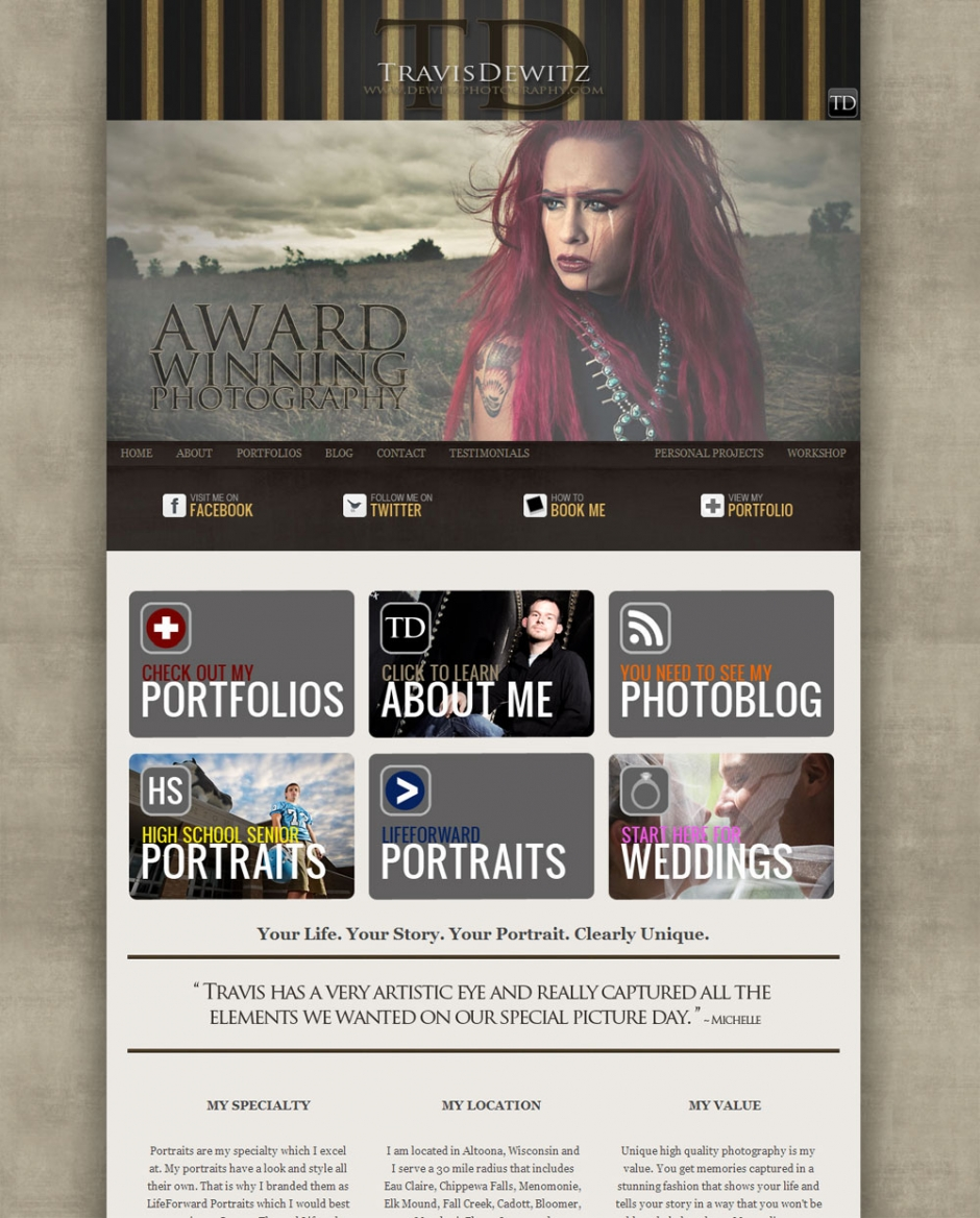 Dewitz Photography Homepage Prophoto Blog on Wordpress Photograph