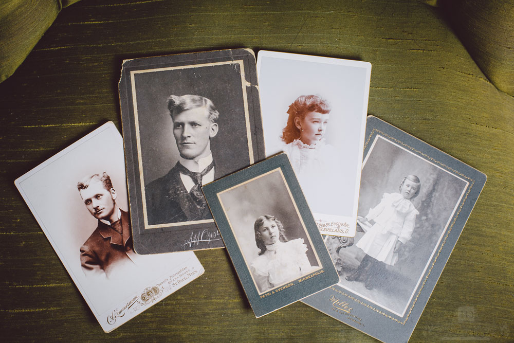 Vintage Cabinet Card Portraits on Green Chair