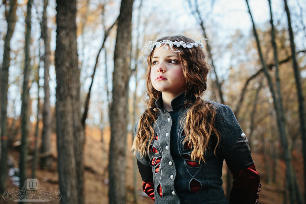 Child Model with Head Piece on in the Woods