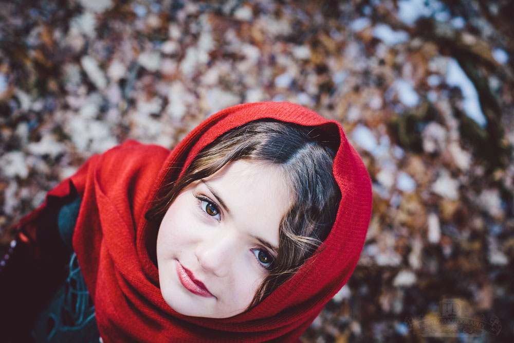 Looking Down on Child Model Caitlin with Red Scarf