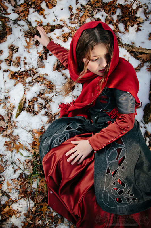 Looking down on Red Riding Hood After She Fell in the Snow