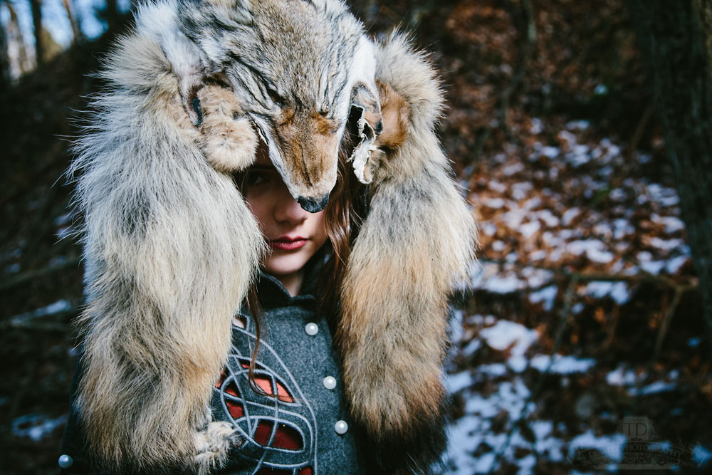Red Riding Hood with Wolf Head on Her Head