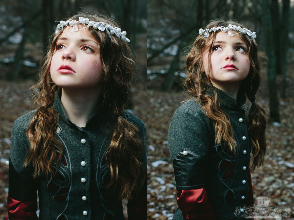 Sad Cold Girl in the Woods