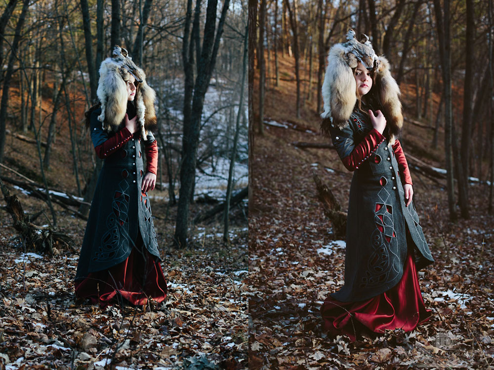 Sunsetting in the Woods with Red Riding Hood