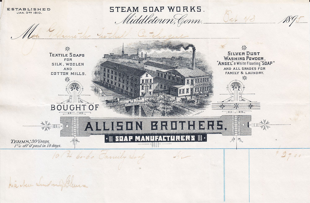 letterhaed allison brothers soap manufactures middletown conn