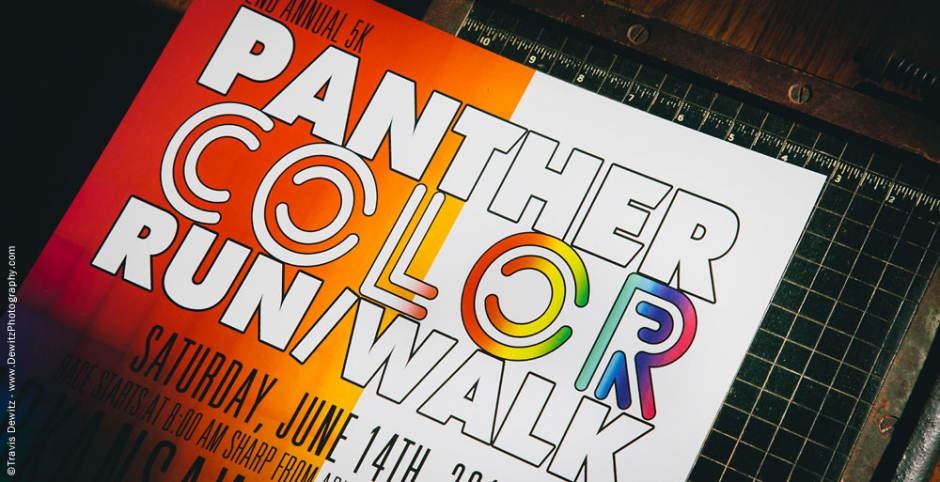 2014 Panther Color Run Event Poster on Paper Cutter
