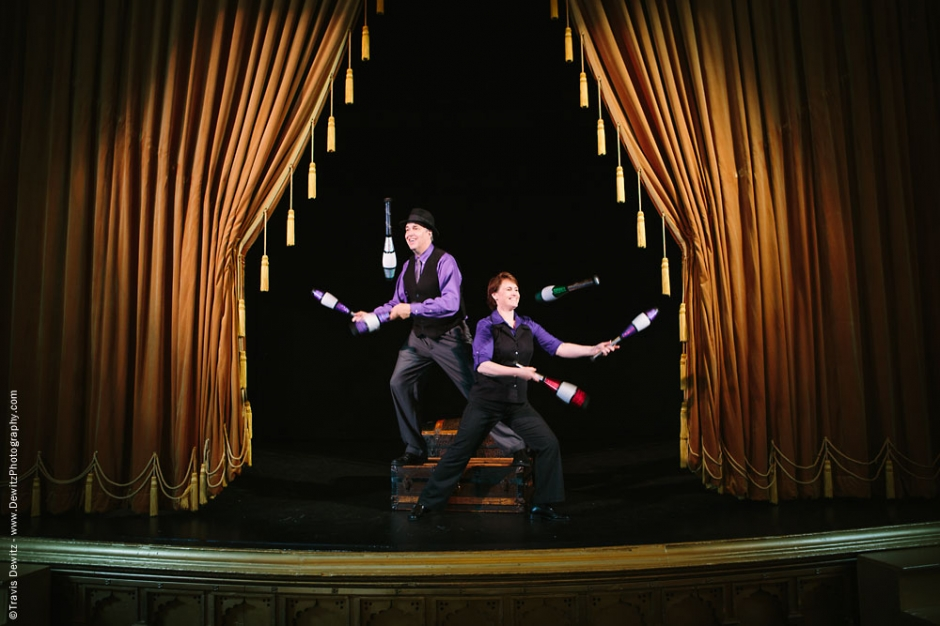 In Capable Hands Standing Juggling on Mabel Tainter Theater Stage