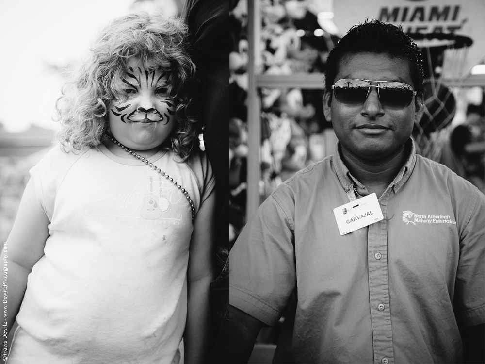 Northern Wisconsin State Fair Girl With Tiger Face - Carney With Shades On