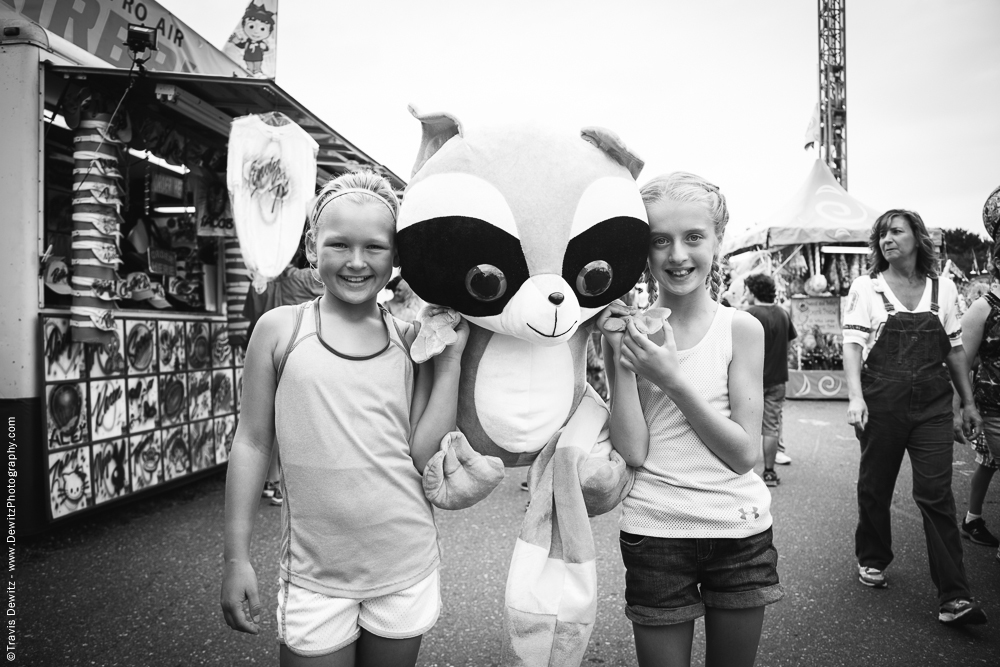 Northern Wisconsin State Fair Girls with Stuffed Racoon