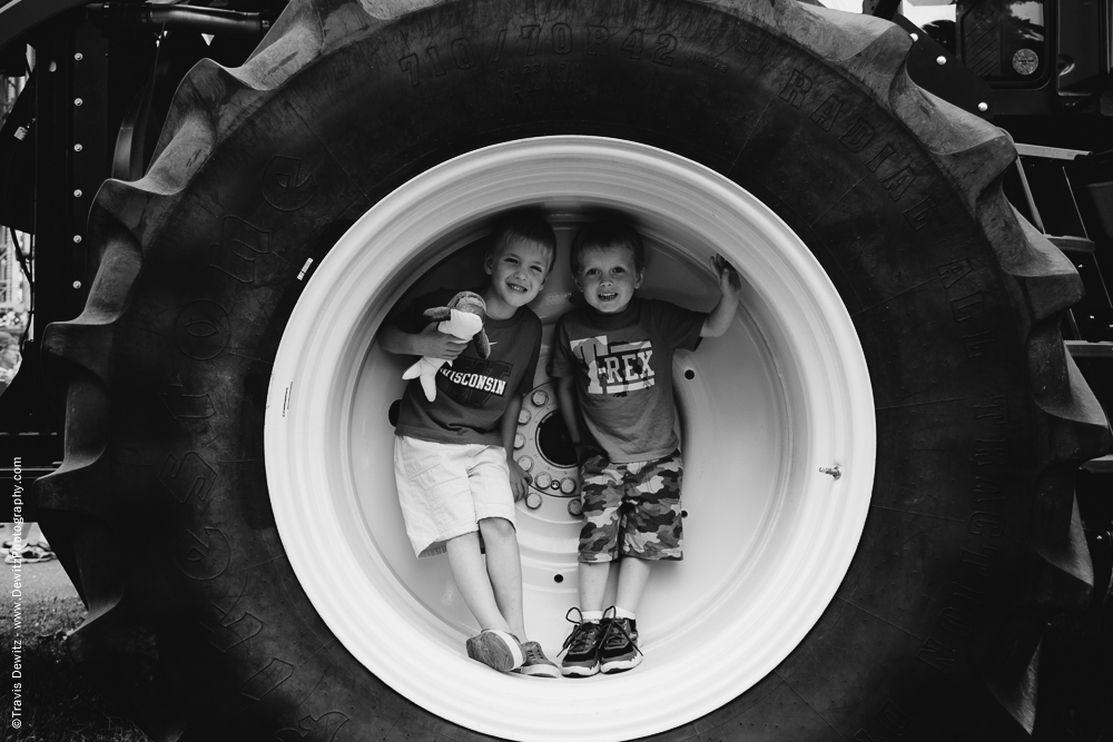 Northern Wisconsin State Fair Little Boys in Tractor Tire