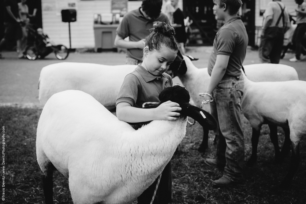 Northern Wisconsin State Fair Little Girl Looking at Her Sheep
