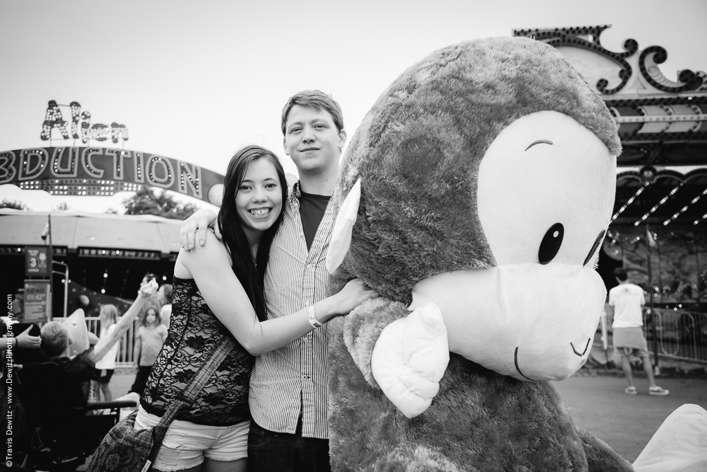 Northern Wisconsin State Fair Teens With Huge Stuffed Monkey
