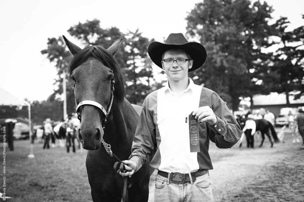 Northern Wisconsin State Fair Young Man and His Horse with Ribbion