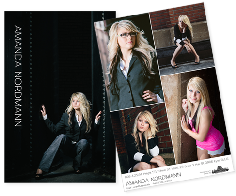 Modern Clean Comp Card Designs Angled - Amanda