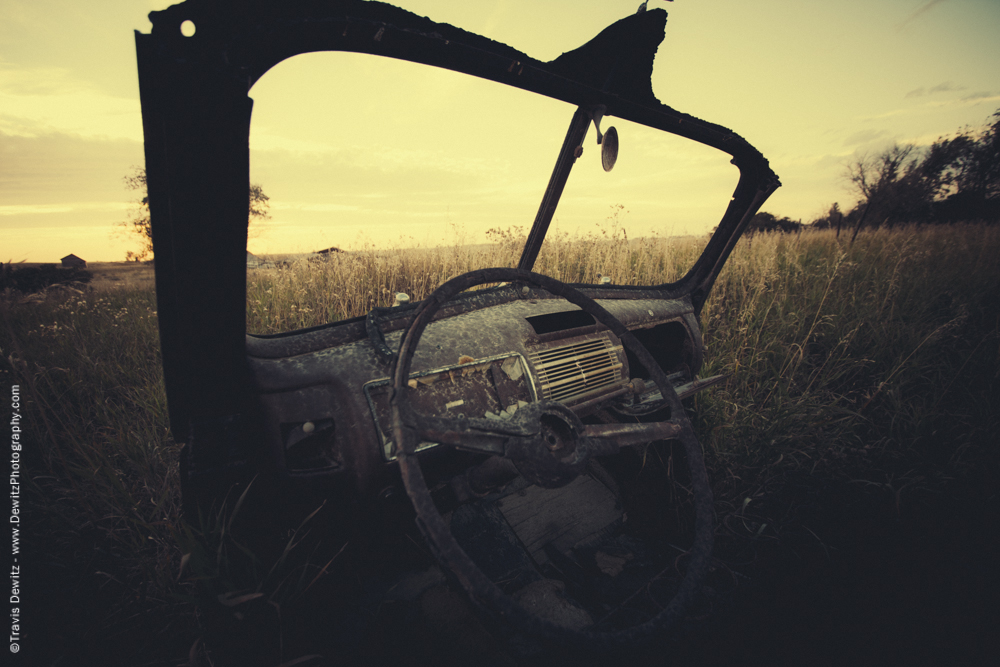 Old Abandoned Car Body in Field