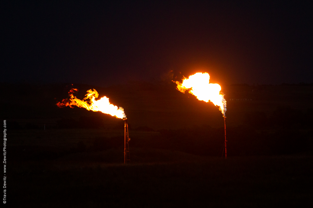 Large Gas Flares at Night