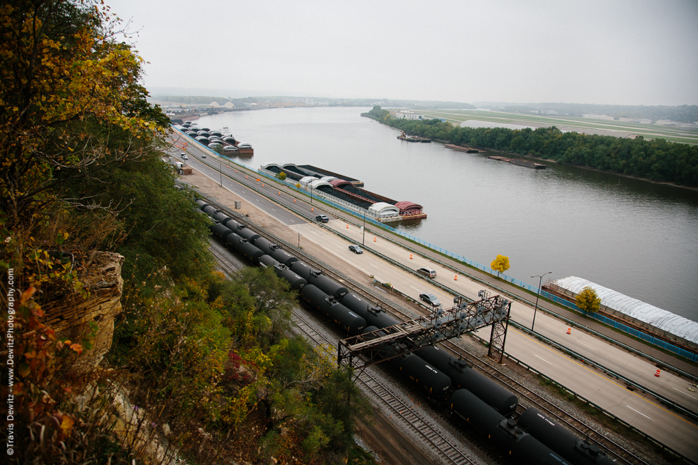 Oil Tank Railcars Along Mississippi River - St. Paul, MN