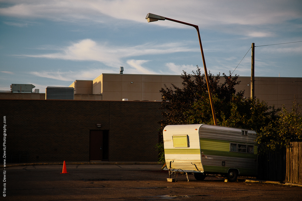 Small Camper in Empty Parking Lot - Williston, ND