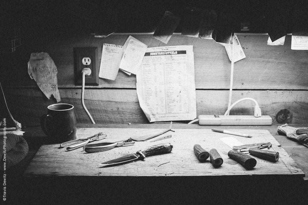Desk Filled with Knife Handles and Leather Tools