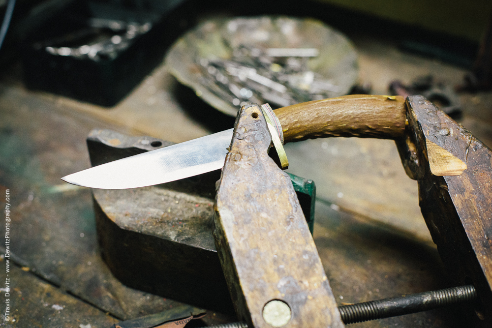 Hunting Knife Antler Handle in Clamp