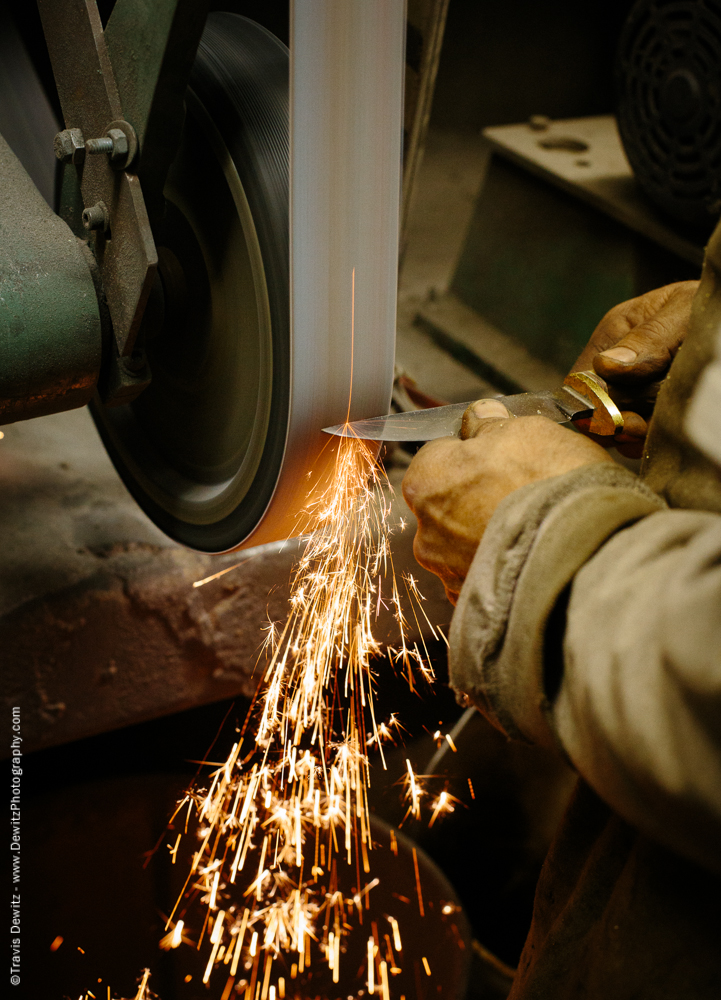 Sparks Flying from Grinding Knife