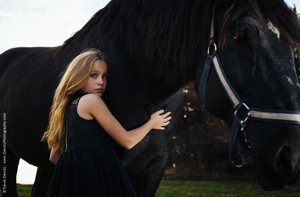 Teslyn - Innocent Young Girl Holds Horse