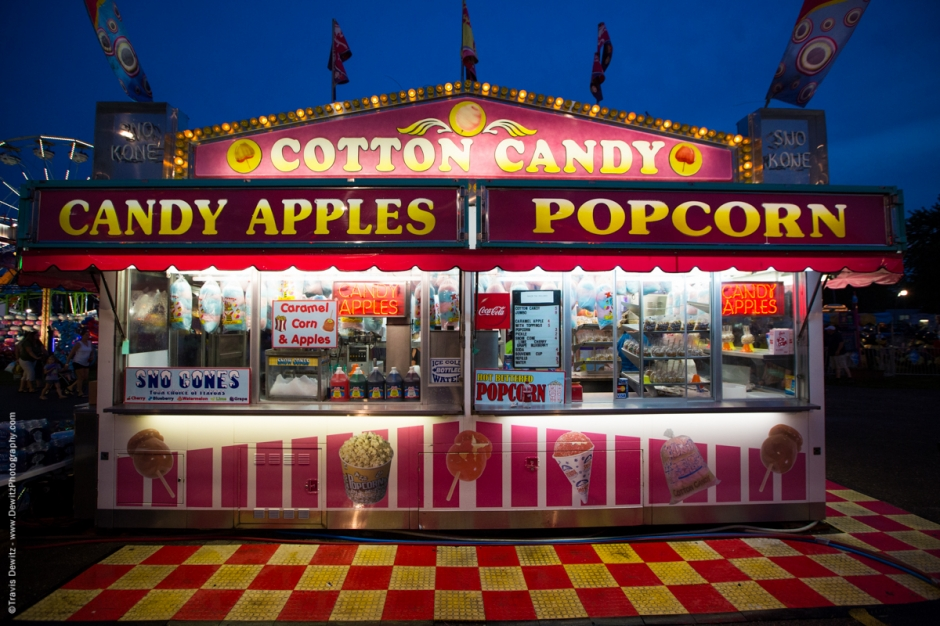 Cotton Candy Candy Apples and Popcorn  Carnival Stand
