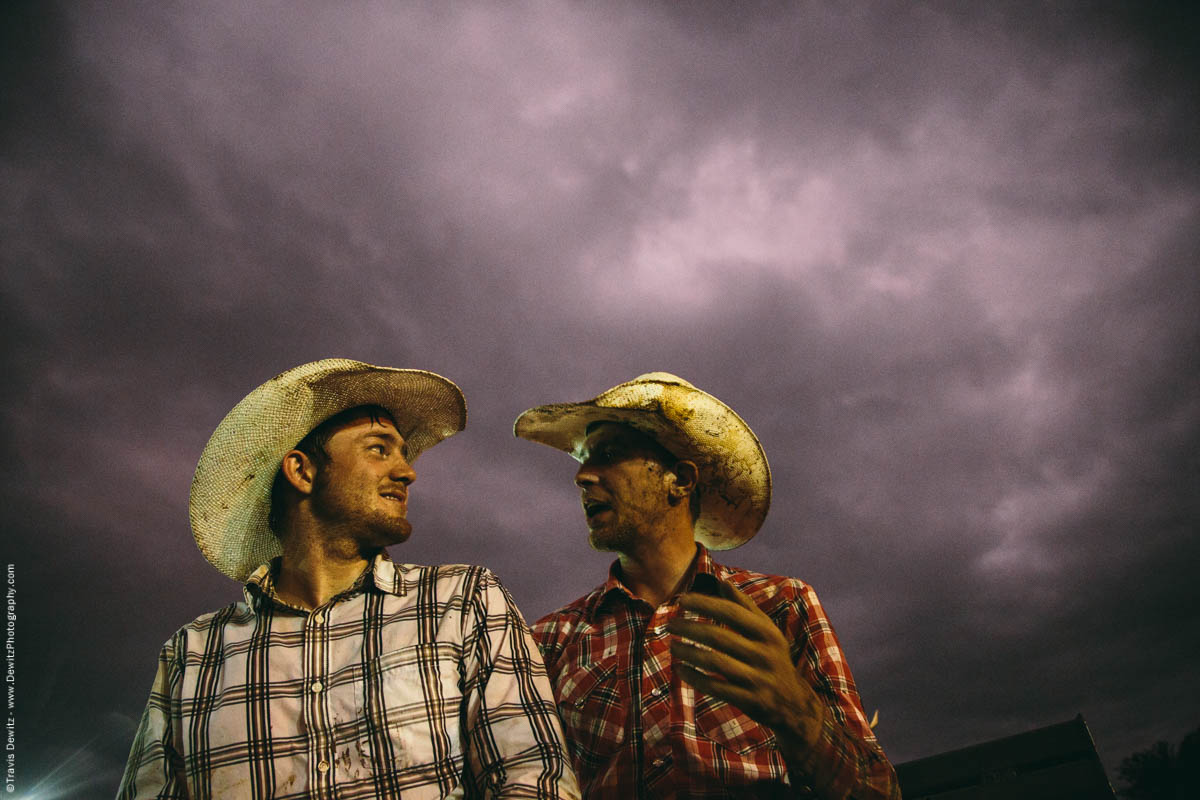 Two Cowboys Talk Rodeo Stormy Skies Western Shirts Covered