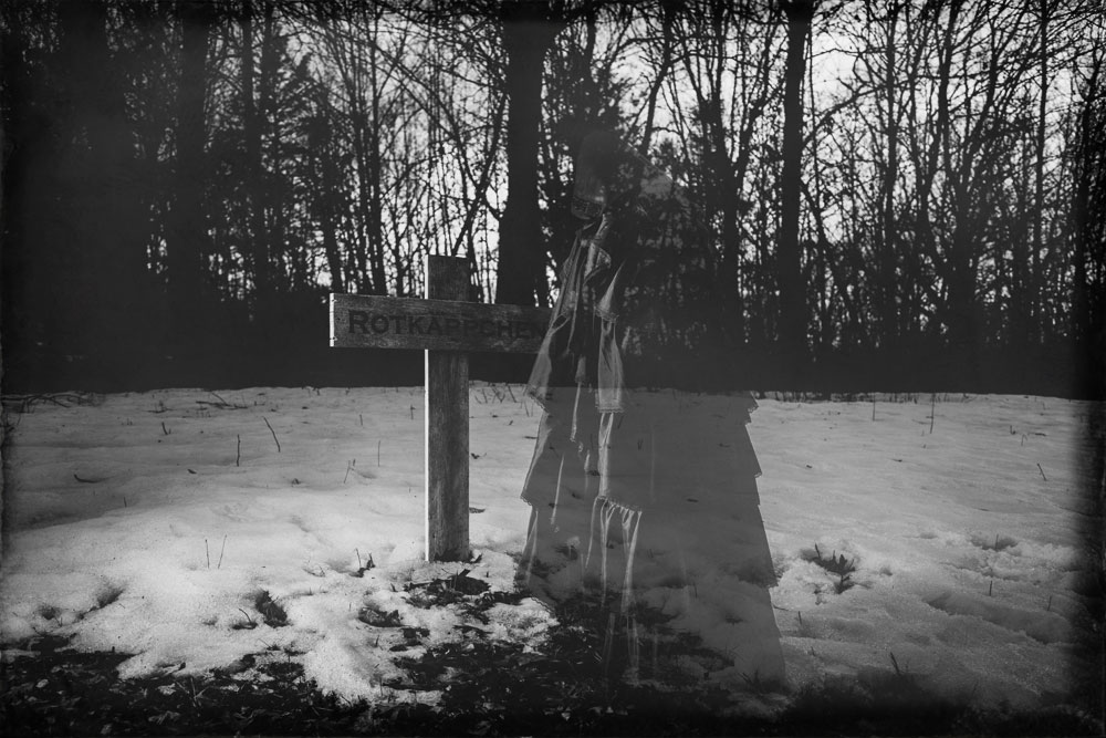 Red Riding Hood Ghostly Looking Over Her Own Grave