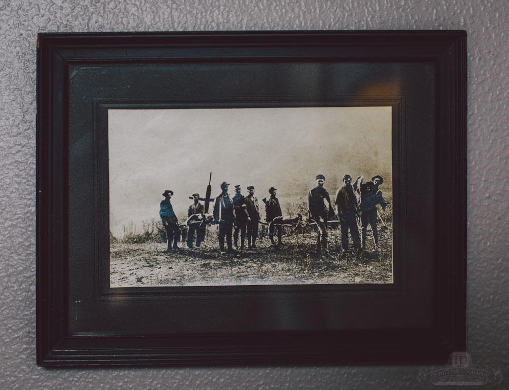 Dark Vintage Framed Photo of Deer Hunters