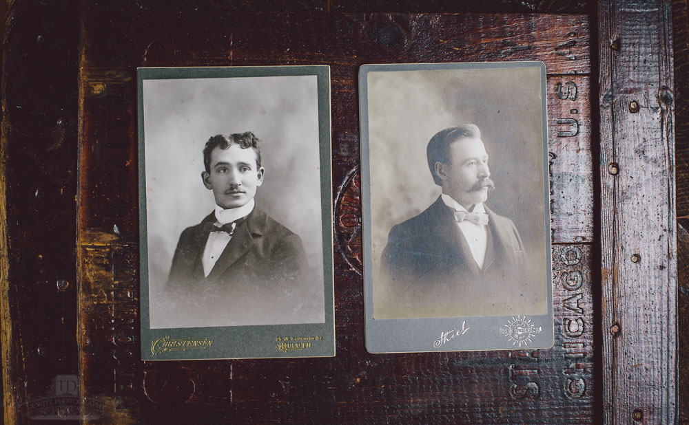 Male Vintage Portraits on Red Wooden Box