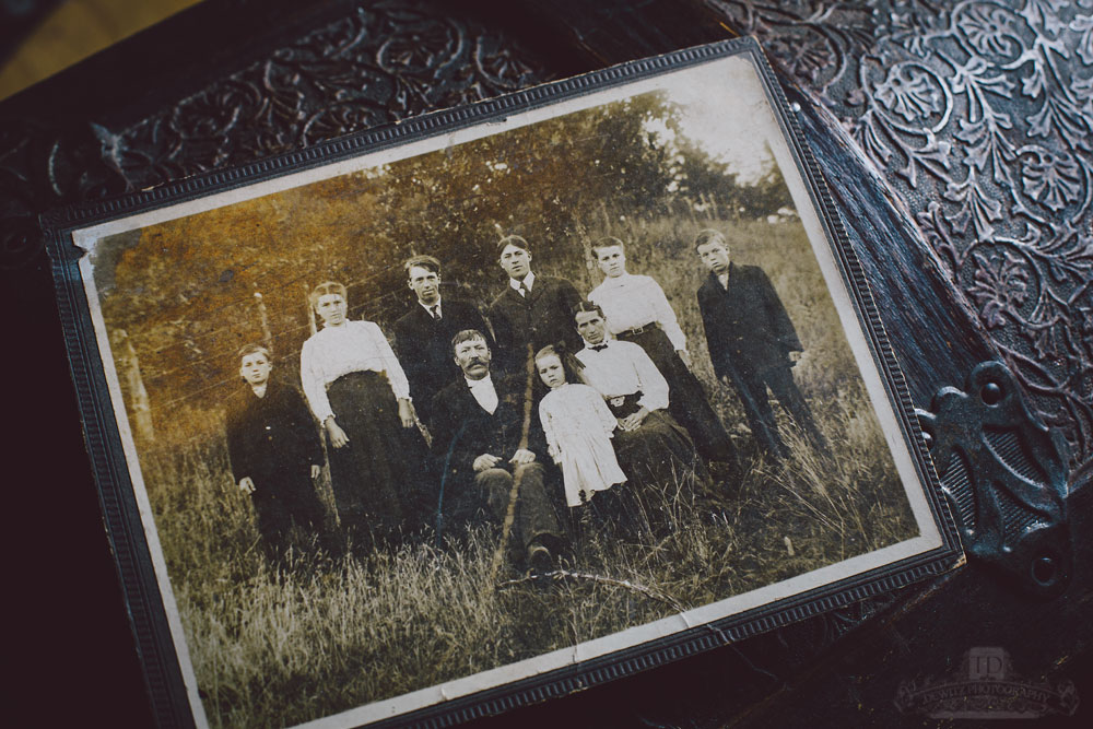 Old Portrait of Large Family in Field