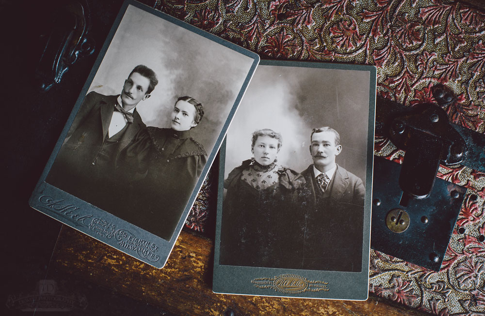 Similar Couples Portraits on Antique Cabinet Cards on Victorian Trunk