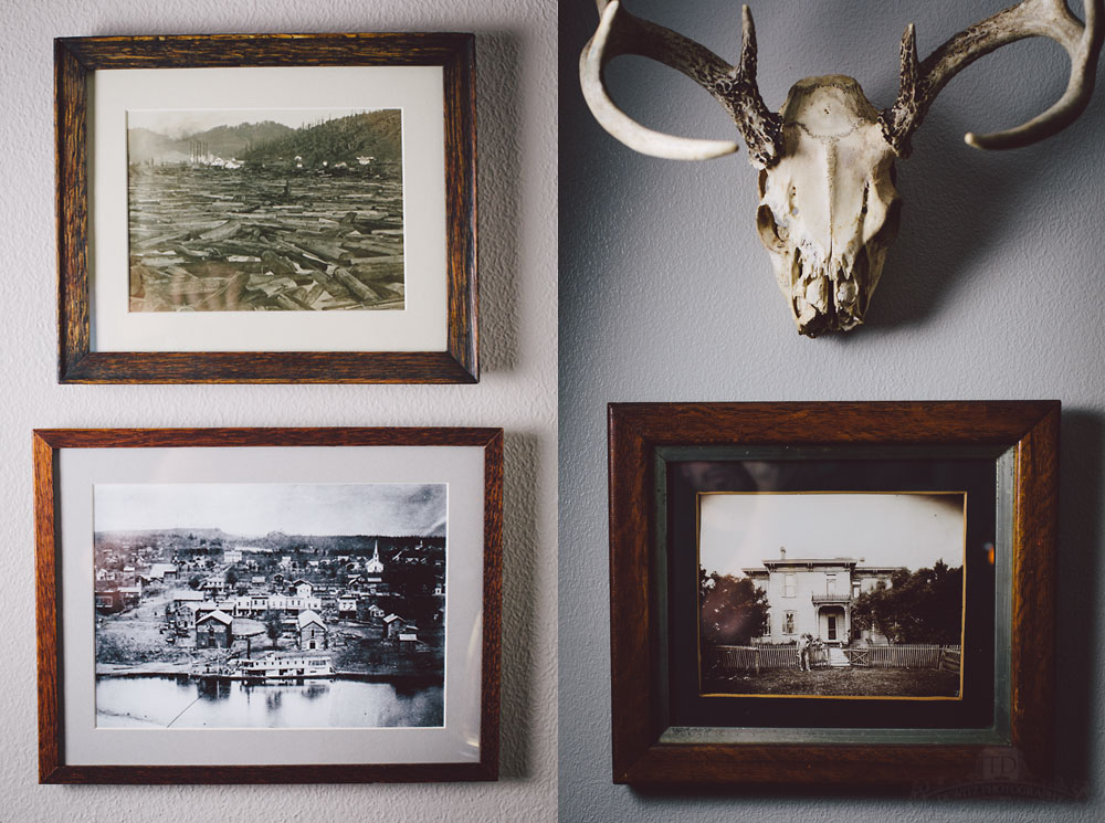 Vintage Framed Photos - Logging Scene - Water Street Eau Claire - Old Home - Deer Skull and Antlers