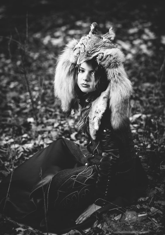 Black and White Red Riding Hood