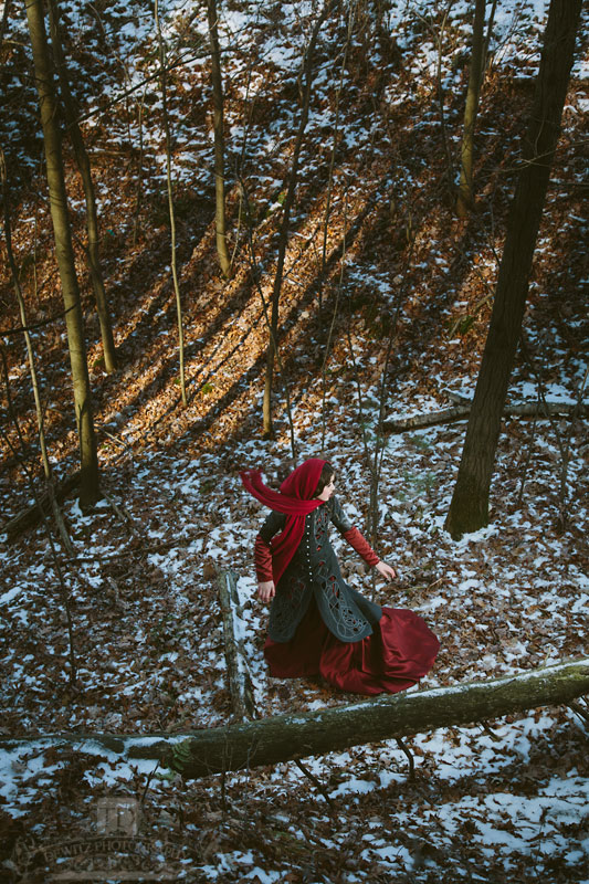 Looking down on Red Riding Hood Running from the Wolf