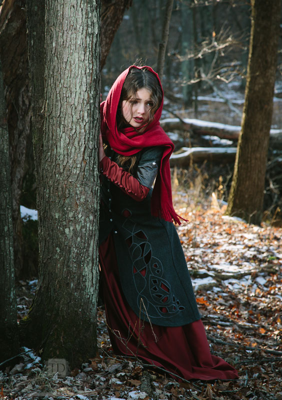 Red Riding Hood Against Tree