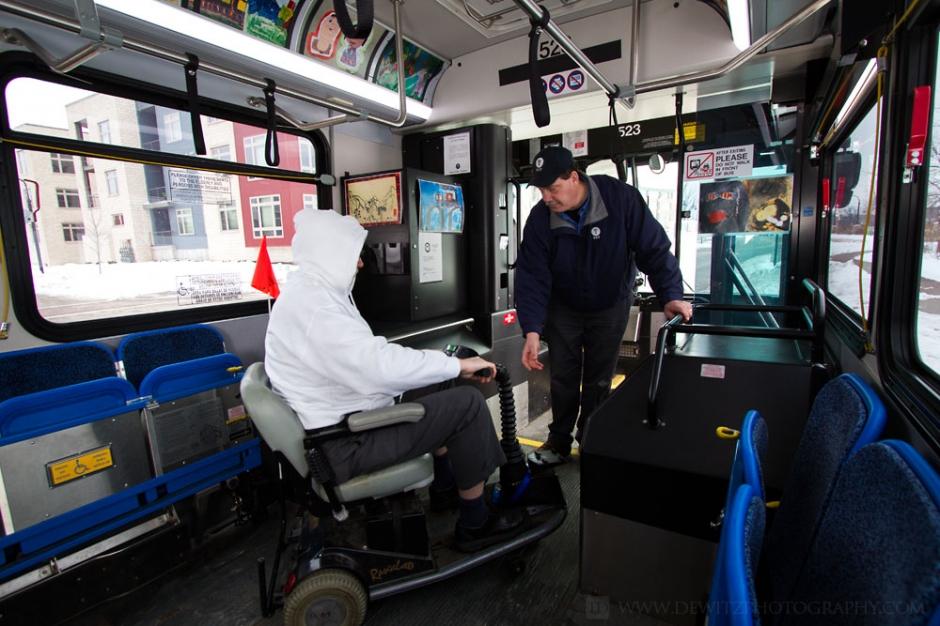 Eau Claire Transit QStraint Seats Up Interior Bus