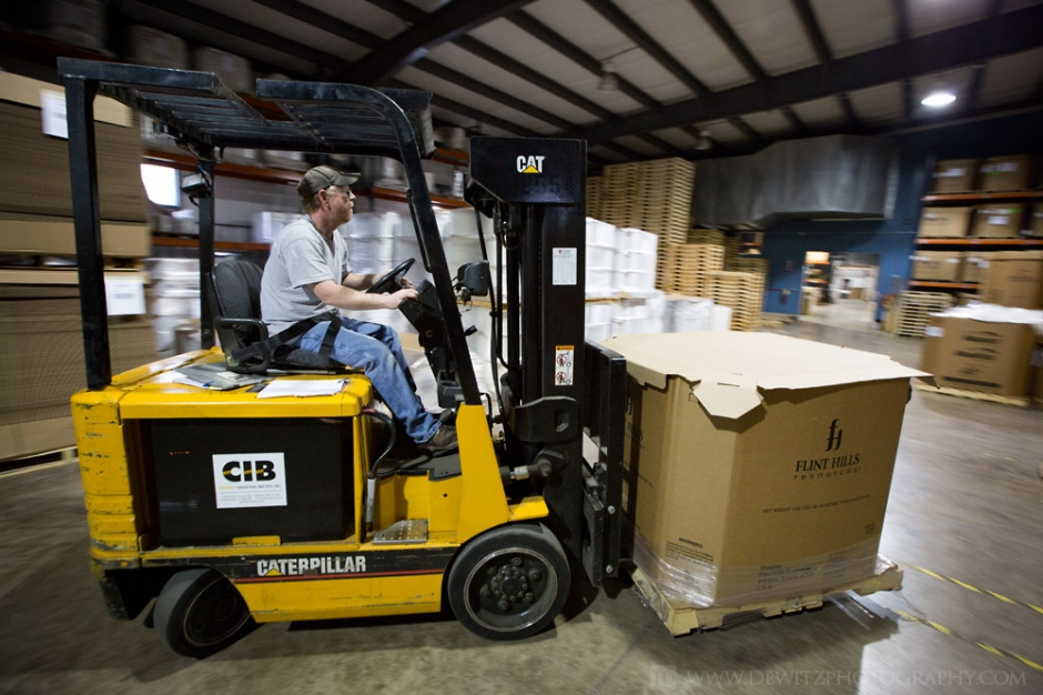 Film Tech Panning Forklift Driver in Warehouse