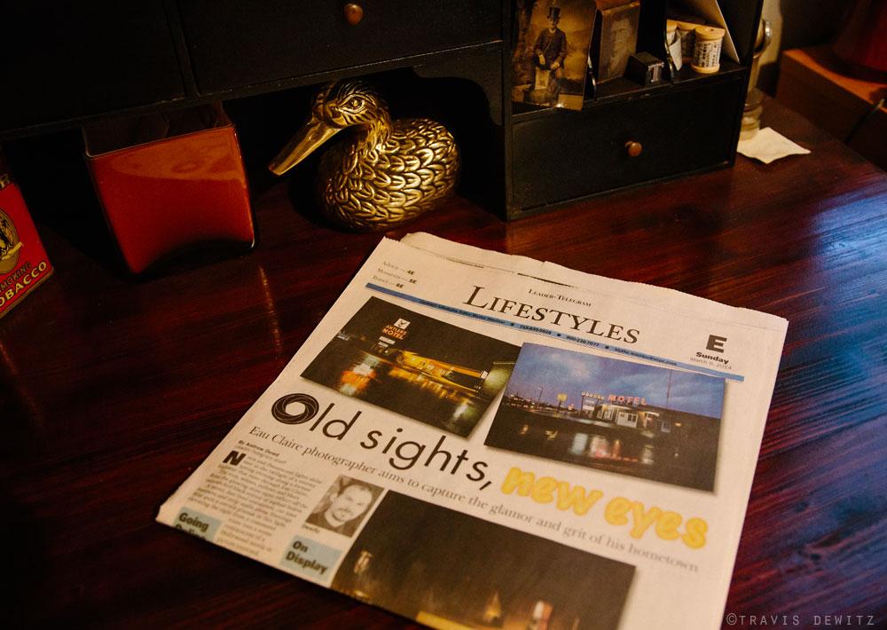 Eau Claire Leader-Telegram Newspaper Article on Desk