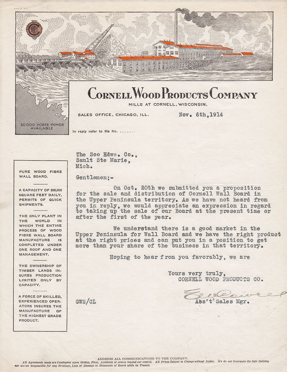 letterhead cornell wood products company cornell wisconsin