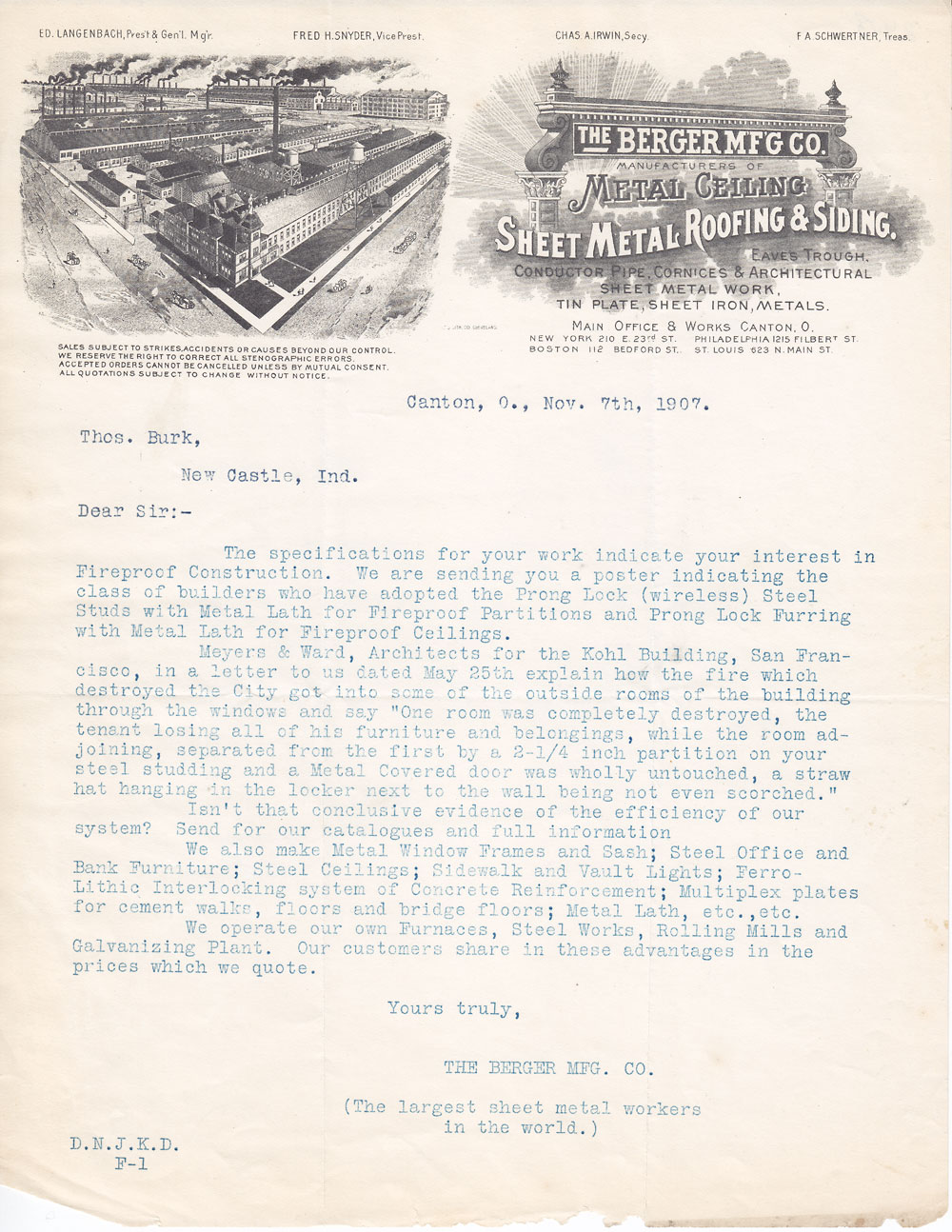 letterhead the berger mfg co canton ohio