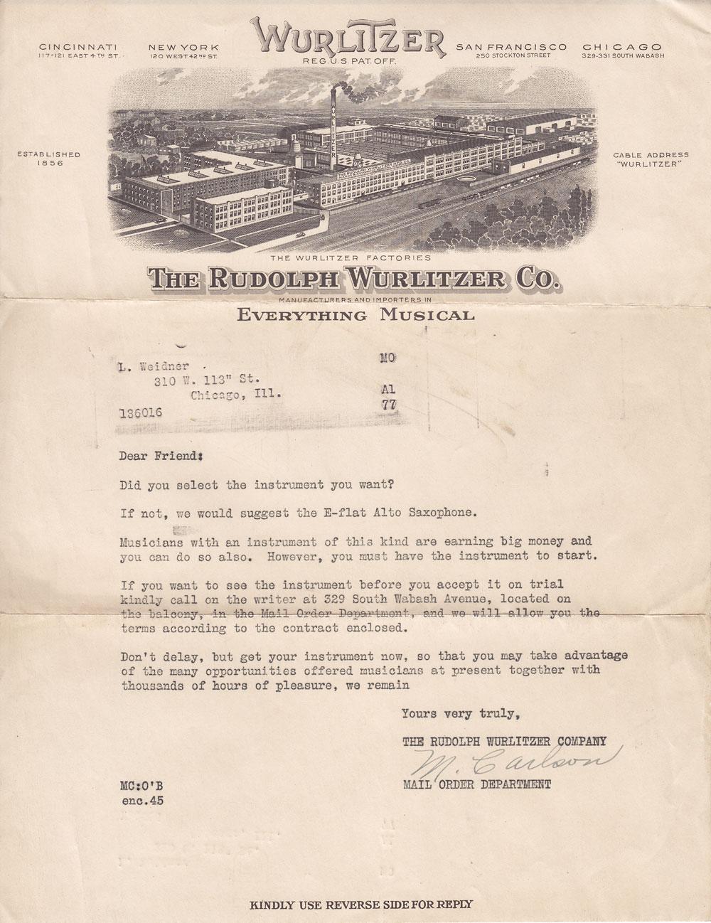 letterhead the rudolph wurlitzer co chicago il