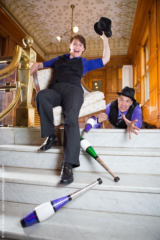 In Capable Hands Jugglers Falling Down Marbel Stairs