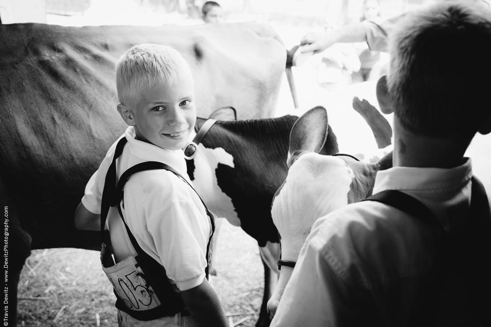 Northern Wisconsin State Fair Blonde Hair Boy Showing Cattle