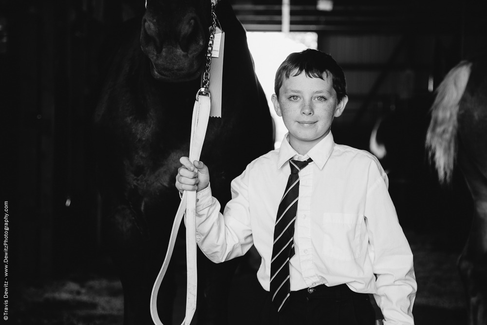 Northern Wisconsin State Fair Boy Holding Large Black Horse
