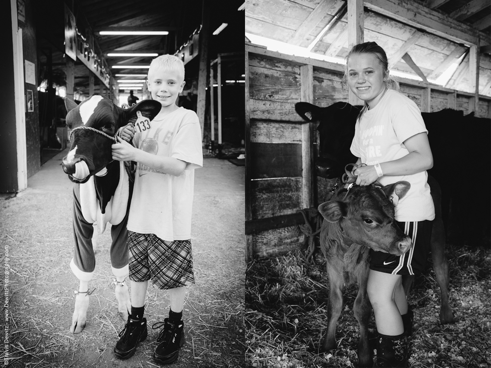 Northern Wisconsin State Fair Boy With Calf in Santa Custome - Girl With Calf